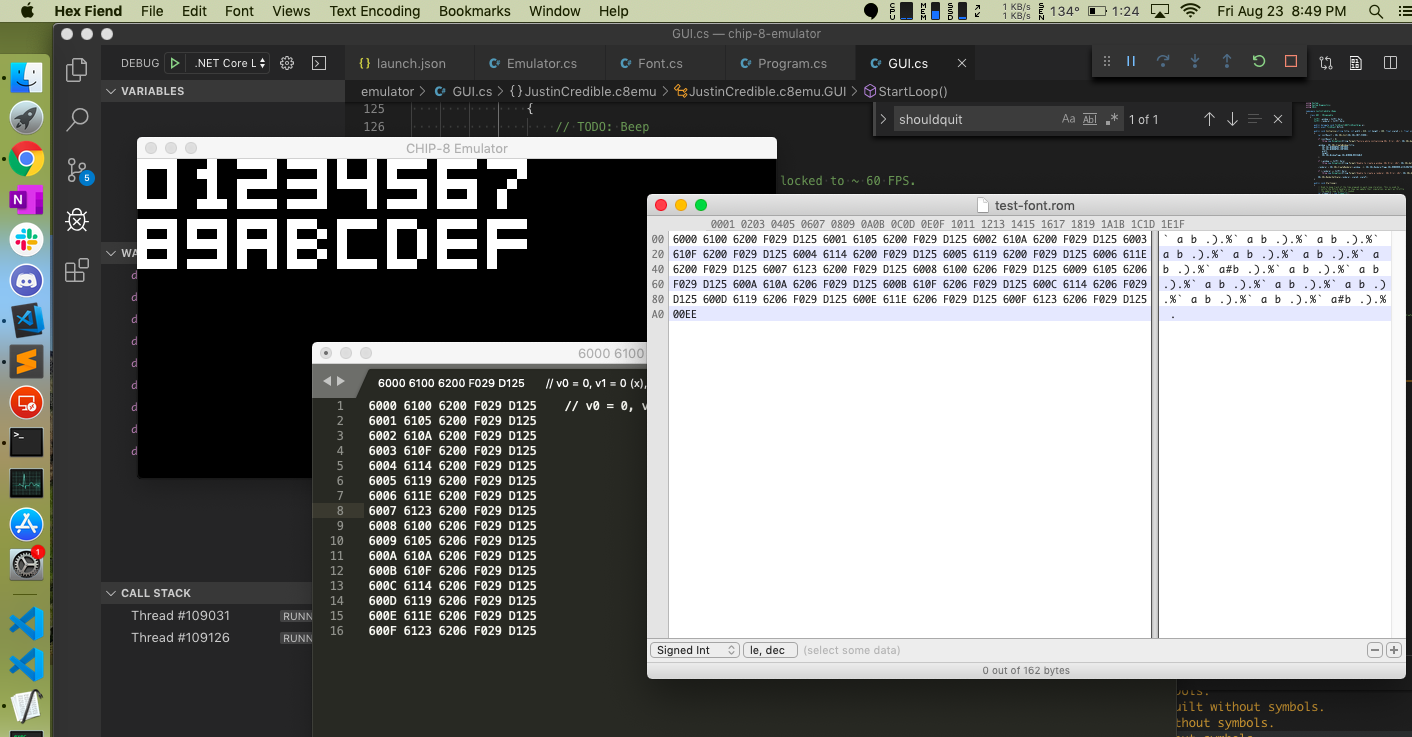 A screenshot of my CHIP-8 emulator early in development.
